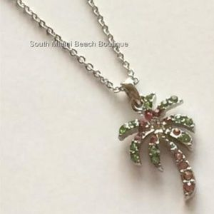Silver Crystal Palm Tree Necklace Coconut Island